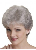 Short Synthetic Capless Straight Grey Wig