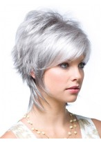 Layered Synthetic Lace Front Grey Wig