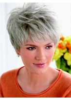 Clearance Lace Front Layered Synthetic Grey Wig