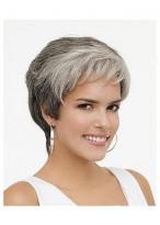 Rounded Fringe wavy Lace Front Grey Wig