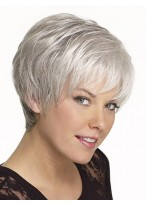 Short Boy Cut Synthetic Capless Grey Wig