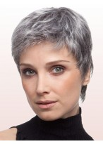 Layered Boy Cut Lace Front Grey Wig