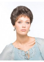 Simple Short Cut Wavy Short Grey Wig