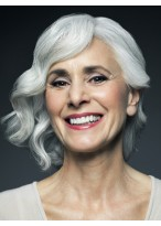 Full lace Medium Wavy Old Lady Gray Wig