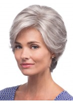 Short Straight Synthetic Capless Grey Wigs
