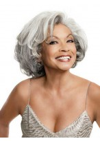 Synthetic Wavy Grey Wigs With Side Parting