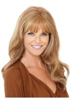 Long Wavy Style With Full Bang Human Hair Lace Front Wig