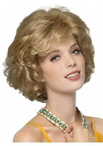 Medium Length Tousled Curls and Side Swept Bangs Wig